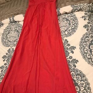 Coral David's bridal bridesmaid dress